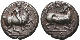 Greek, Cilicia, c. 380-370 BC, AR Stater, Kelenderis . Obverse: Youth, holding whip, dismounting from rearing horse right Reverse: Kneeling goat right...