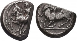 Greek, Cilicia, c. 425-400 BC, cut AR Stater, Kelenderis . Obverse: Youth, holding whip, dismounting from rearing horse left Reverse: Kneeling goat le...