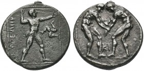 Greek, Pamphylia, c. 380/75-330/25 BC, AR Stater, Aspendos . Obverse: Two wrestlers grappling, KI monogram between, all within dotted circle Reverse: ...