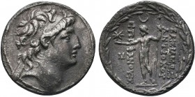 Greek, Seleukid Kings of Syria, Antiochos VIII Epiphanes Grypos 121-96 BC, AR Tetradrachm, Ptolemaïs 121/0-113 BC . Obverse: Head facing to right, wea...