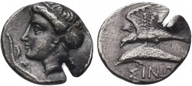 Greek, Paphlagonia, uncertain magistrate c. 330-300 BC, AR Drachm, Sinope .Obverse: Head of nymph left, hair in sakkos; test cut Reverse: Sea-eagle st...