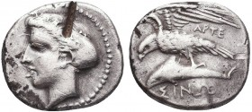 Greek, Paphlagonia, Arte magistrate c. 410-350 BC, AR Drachm, Sinope . Obverse: Head of nymph left, hair in sakkos; test cut Reverse: Sea-eagle standi...