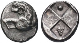Greek, Thrace, civic issue c. 386-338 BC, AR Hemidrachm, Cherronesos . Obverse: Forepart of lion right, head turned back Reverse: Quadripartite incuse...