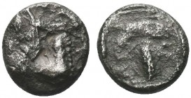 Greek, Mysia, c. 4th Century BC, AR Hemidrachm, Parion prow galley . Obverse: Facing gorgoneion with open mouth and tongue protruding Reverse: ΠA–PI, ...