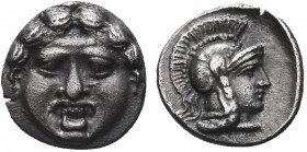Greek, Pisidia, c. 350-300 BC, AR Obol, Selge . Obverse: Facing gorgoneion with protruding tongue Reverse: Helmeted head of Athena right Reference: SN...