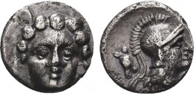 Greek, Pisidia, c. 350-300 BC, AR Obol, Selge . Obverse: Facing gorgoneion Reverse: Helmeted head of Athena right, astragalos behind Reference: SNG Fr...