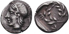 Greek, Aeolis, c. 460-400 BC, AR Diobol, Elaia .Obverse: Helmeted head of Athena left Reverse: EΛΑΙ, wreath Reference: SNG v. Aulock 7679  Condition: ...
