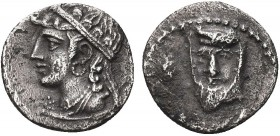 Greek, Cilicia, c. 4th Century BC, AR Obol, uncertain . Obverse: Draped bust, wearing satrapal headdress, facing slightly left; symbol to left Reverse...