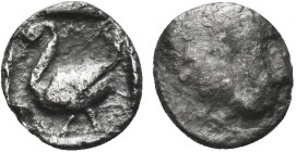 Greek, Cilicia, c. 425-385, AR Obol, Mallos . Obverse: head of Herakles right? Reverse: Swan standing left; M above Reference: Weber Colln. 7562  Cond...