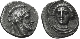 Greek, Cilicia, c. Pharnabazos or Datames 379-372 BC, AR Obol, Tarsos . Obverse: Female head (Arethusa?) facing slightly left, wearing single-pendant ...