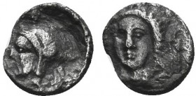 Greek, Cilicia, c. Datames 380-361 BC, AR Obol, Tarsos . Obverse: Female head (Arethusa?) facing slightly left, wearing single-pendant earrings and ne...
