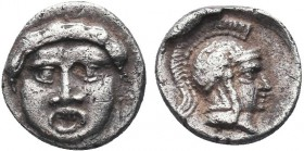 Greek, Pisidia, c. 350-300 BC, AR Obol, Selge. Obverse: Facing gorgoneion with protruding tongue Reverse: Helmeted head of Athena right Reference: SNG...