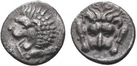 Greek, Caria, c. 392-377 BC, AR Hemiobol, Mylasa . Obverse: Forepart of lion left Reverse: Forepart of facing lion; E symbol below Reference: SNG Keck...