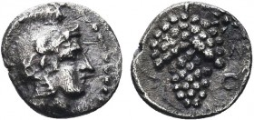Greek, Cilicia, c. 410-375 BC, AR Obol, Soloi . Obverse: Helmeted head of Athena right Reverse: Grape bunch with tendril to left; ΣO right field Refer...