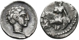 """Greek, Cilicia, Tiribazos Satrap of Lydia 388-380 BC, AR Obol, Tarsos   Obverse: Female kneeling left, tossing astralagoi Reverse: Male head right Re..."