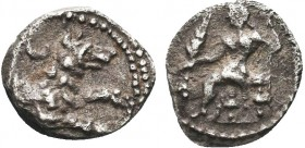 """Greek, Cilicia, c. 4th Century BC, AR Obol, Tarsos  Obverse: Zeus-Baal seated left, holding Nike and sceptre; before, bunch of grapes Reverse: Forepa..."