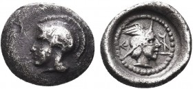 """Greek, Lycia, Vekhssere II c. 400-390 BC, AR Obol, uncertain Dynasts  Obverse: Helmeted head of Athena left Reverse: Head of Hermes right, wearing wi..."