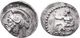 """Greek, Cilicia, Pharnabazos Persian military commander 380-373 BC, AR Obol, Tarsos   Obverse: Baal of Tarsos seated left, holding lotus tipped scepte..."