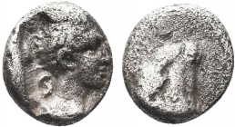 """Greek, Cilicia, Datames Satrap of Cilicia and Cappadocia c. 378-372 BC, AR Obol, Tarsos head right   Obverse: Diademed head of female (Aphrodite?) ri..."