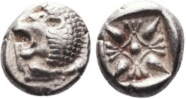 """Greek, Ionia, c.6th-5th Century BC, AR Obol, Miletos  Obverse: Forepart of lion right, head left Reverse: Stellate pattern within incuse square Refer..."