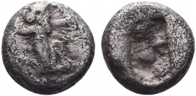 """Greek, Kings of Persia, Darios I to Xerxes II, AR Siglos, Sardes c. 485-400 BC  Obverse: Persian king or hero, wearing kidaris and kandys, quiver ove..."