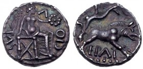 Britain, Trinovantes and Catuvellauni. Epaticcus. Silver Unit (1.27 g), ca. AD 35-43. EF