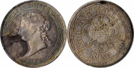 HONG KONG. Dollar, 1867. Hong Kong Mint. Victoria. PCGS Genuine--Tooled, AU Details Gold Shield.