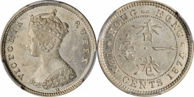 HONG KONG. 10 Cents, 1874-H. Heaton Mint. Victoria. PCGS MS-63+ Gold Shield.