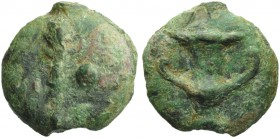 Central Italy, Uncertain mint, Onkia, 3rd century BC; AE (g 21,05; mm 28; h 12); Club; on r., pellet, Rv. Cantharus. HNItaly 349; ICC 262. Extremely r...