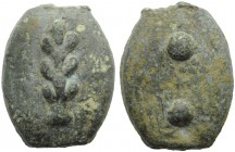 Umbria, Tuder (?), Cast Sextans, 3rd century BC; AE (g 26,07; mm 28; h -); Club, Rv. Two pellets. HNItaly 54; ICC 199. Green patina, good extremely fi...
