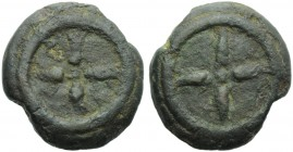 Etruria, Uncertain mint, Cast Uncia, 3rd century BC; AE (g 13,67; mm 26; h -); Wheel with four spokes, Rv. Wheel with four spokes. HNItaly 56f; ICC 16...