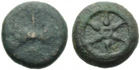 Etruria, Uncertain mint, Quartuncia, 3rd century BC; AE (g 5,33; mm 16; h -); Wheel with six spokes, Rv. Bipennis with handle; in field, letter. ICC 1...
