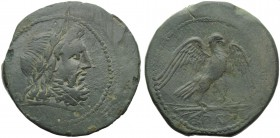 Campania, Capua, As, c. 216-211 BC; AE (g 25,24; mm 33; h 8); Head laureate of Zeus r., Rv. Eagle standing r., with open wings, on thunderbolt; in ex....