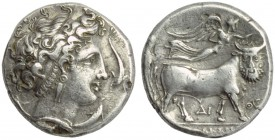 Campania, Neapolis, Didrachm, c. 300 BC; AR (g 6,56; mm 20; h 9); Female head r., wearing broad hair band and triple pendent earrings; around, four do...