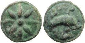 Apulia, Luceria, Cast Teruncius, c. 217-212 BC; AE (g 23,52; mm 27; h - ); Star of six rays, Rv. Dolphin r.; above, °°°; below, L. HNItaly 677c; ICC 3...