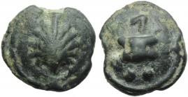 Apulia, Luceria, Cast Biunx, c. 225-217 BC; AE (g 24,15; mm 29; h 9); Scallop shell, Rv. Astragalos; above, two pellets; below, Λ. HNItaly 677d; ICC 3...
