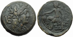 Apulia, Venusia, Nummus, c. 210-200 BC; AE (g 29,29; mm 34; h 11); Head of Dionysios r., wearing ivy wreath and earrings; on l., VE (ligate), Rv. Dion...
