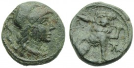 Apulia, Mateolum, Sextans, c. 210-150 BC; AE (g 3,26; mm 16; h 6); Head of Athena l., wearing Corinthian crested helmet; above, two pellets, Rv. Lion ...