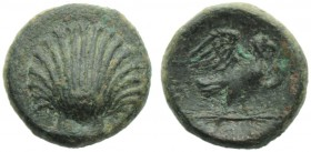 Apulia, Sturni, Bronze, c. 250-210 BC; AE (g 3,06; mm 15; hn 6); Shell, Rv. ΣTY, eagle standing r., with closed wings, on thunderbolt. HNItaly 823. Ex...