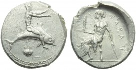 Apulia, Tarantum, Nomos, c. 470-425 BC; AR (g 7,87; mm 22; h 12); Oecist riding dolphin l., both arms extended; below, shell, Rv. TAPAΣ (retrograde), ...