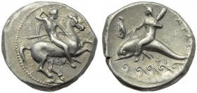 Apulia, Tarentum, Nomos, c. 332-302 BC; AR (g 7,81; mm 21; h 1); Horseman galloping r., holding shield and spears; below, ΣIM, Rv. ΤΑΡΑΣ, oecist ridin...