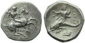 Apulia, Tarentum, Nomos, c. 332-302 BC; AR (g 7,79; mm 21; h 5); Horseman galloping r., holding shield and spears; below, ΣA, Rv. TAPAΣ, oecist riding...