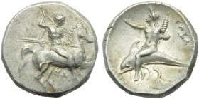 Apulia, Tarentum, Nomos, c. 290-281 BC; AR (g 7,91; mm 21; h 3); Horseman galloping r., holding spears and shield; below, TA, Rv. ΤΑΡΑΣ, oecist riding...