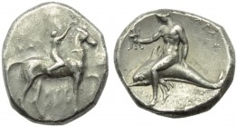 Apulia, Tarentum, Nomos, c. 302-280 BC; AR (g 7,80; mm 21; h 3); Horseman advancing l., crowning horse; on l., [ΣA]; below, [ΑΡΕ / ΘΩΝ], Rv. ΤΑΡΑΣ, oe...