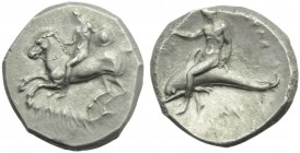 Apulia, Tarantum, Nomos, c. 302-280 BC; AR (g 7,78 ; mm 21; h 5); Horseman galloping l., holding shield; on l., [ΣI]; below, ΦΙΛΟΚΛΗΣ, Rv. TAPAΣ, oeci...