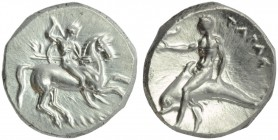 Apulia, Tarentum, Nomos, c. 302-280 BC; AR (g 7,89; mm 21; h 10); Horseman galloping r., holding spears and shield; on l., ΣI; below, ΛΥΚ[ΩΝ], Rv. TAP...
