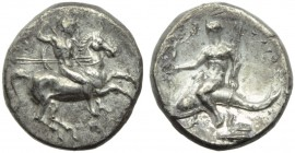 Apulia, Tarentum, Nomos, c. 280-272 BC; AR (g 6,37; mm 21; h 12); Horseman galloping r., holding shield and spears; on l., EY; below, [ΦΙΝΤ], Rv. ΤΑΡΑ...