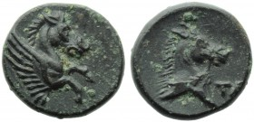 Apulia, Tarentum, Bronze, c. 275-200 BC; AE (g 1,76; mm 12; h 6); Forepart hippocamp r., Rv. Head of horse r.; on r., TA. HNItaly 1091. Very rare. Dar...