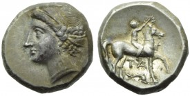 Apulia, Tarentum (Campano-Tarantine coinage), Didrachm, c. 281-228 BC; AR (g 7,45; mm 20; h 5); Diademed head of nymph l., wearing earrings and neckla...
