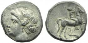 Apulia, Tarentum (Campano-Tarantine coinage), Didrachm, c. 281-228 BC; AR (g 7,02; mm 19; h 6); Diademed head of nymph l., wearing earrings and neckla...